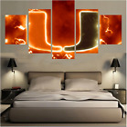 5 Pcs Miami Hurricanes Painting HD Printed on Canvas Wall Art Picture Home Décor