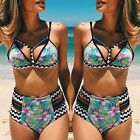 Womens Floral Triangle Padded Bra Push-up Swimwear Bikini Swimsuit Bathing Suit