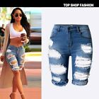 Women Summer Ripped Hole High Waist Short Pants Denim Jeans Slim Casual Trousers