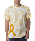 Gildan Tie Dye Awareness Ribbon Tee Crew Neck T-Shirt Unisex 65