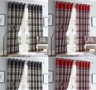 Ring/Eyelet Top Fully Lined Ready Made Curtains In A Modern Checked Design.