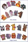 10 Storytelling Finger Puppets Fun Velcro Backed Puppets JUNGLE or FARM Animals