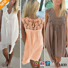 BOHO Ladies Sleeveless Party Tops Womens Loose Summer Beach Lace Dress 8-18 A039