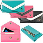 Luxury Wallet Leather Snap Pouch Wrist Strap Purse Case Cover