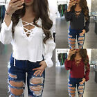 Fashion Women Lace Up V Neck Blouse Long Sleeve Casual Loose T-Shirt Crop Top YG