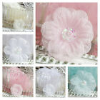 10 X 25mm Organza flowers with bead centre Pink White Blue Ivory Wedding Invites