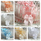 10 x Satin Ribbon pre-tied bows with Pearl centre. Pink Blue White Ivory Baby