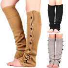NEW WOMEN'S GIRLS WINTER CROCHET KNIT LEG WARMERS BUTTON CUFFS BOOT SOCKS SAUCY