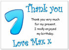 10 Personalised Thank you CARDS & envelopes, thanks birthday age 7 party boys