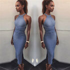 Women Sleeveless Bandage Bodycon Side Slit Backless Long Knitted Sweater Dress