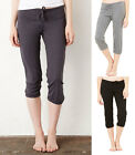 Ladies Womens Capri Scrunch Pants Trousers - Relaxed Fit - Drawstring Waistband