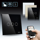 Crystal Glass Panel 3 Gang 1 Way Wall Touch Switch Socket Home Remote Control JX