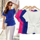 Women Casual Chiffon Blouse Short Sleeve Shirt T-shirt Blouse Tops Summer USPC