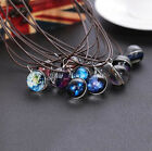 1X Space Galaxy Universe Glass Glow in the Dark Pendant Leather Chain Necklace