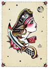 Pirate II by Susana Alonso Old School Girl Tattoo Portrait Canvas Fine Art Print