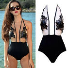 Women Transparent Embroidery One Piece Bikini Set Monokini Swimsuit Swimwear Hot