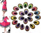 30PCS Embroidered Small Multicolor Peacock Feathers Patch Iron On Appliques PT06