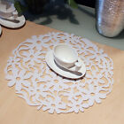 6Colors Round Laser Flower Design Felt Placemats Kitchen Coffee Table Mats