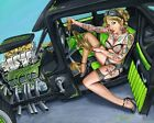 Sublime by JR Linton Sexy Tattooed Nude Woman in Hot Rod Car Canvas Art Print