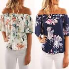 Women Off Shoulder Floral Printed Blouse Casual Tops T Shirt Sleeveless USPC
