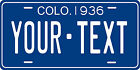 Colorado 1936 License Plate Personalized Custom Car Bike Motorcycle Moped Tag