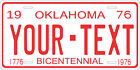 Oklahoma 1976 License Plate Personalized Custom Auto Bike Motorcycle Moped