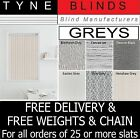 "From 99p  GREY - PLAIN OR PATTERNED 3.5"" (89mm) Vertical blind SLATS - BARGAIN"