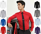 Mens Long Sleeve Poplin Shirt Smart Casual Business Work Office Formal Wear