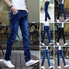 Men's Slim Fit Straight Washed Denim Pants Pencil Trousers Casual Skinny Jeans