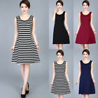 Fashion Women Black&White Striped Summer Sleeveless Evening Party Short Dress