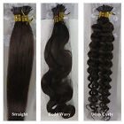 """AAA 18""""-32""""  Human Hair Extensions Stick I Tip Straight Wavy Curly #4 Dark Brown"""