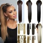 Real Long Thick Straight Curly Clip On Natural Ponytail Wrap Pony Tail Extension