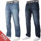 New KRUZE Mens Straight Regular Fit Jeans Marble Washed Blue All Waist Big Sizes