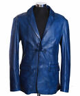 Men's MILANO BLUE Smart 2 Button Soft New Real Lambskin Leather Blazer Jacket