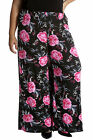 New Womens Plus Size Trouser Ladies Palazzo Pants Floral Elastic Print Nouvelle
