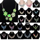 Jewelry Women Chunky Statement Bib Chain Choker Pendant Necklace Earring Set