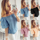 Fashion Womens Off Shoulder T-shirt Casual Blouse Loose Short Sleeve Solid Tops