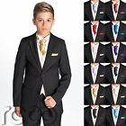 Boys Black Suit, Boys Cravat & Pocket Square, Page Boy Suits, Boys Wedding Suit