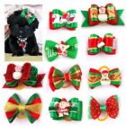 Christmas Dog Puppy Cat Pet Hair Bows W/Rubber Bands Party Grooming Accessories