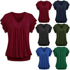 Fashion Women V-neck Plus Size Tops Loose Short Sleeve T-Shirt Casual Blouse