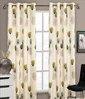Faux Silk Ringtop Eyelet Readymade Teal Cream Dandelion Fully Lined Curtain Pair