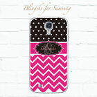 Personalized polka dots pink chevron monogram case for Samsung Galaxy S8 -pt1pk