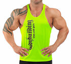 MENS IRON & PAIN T-BACK BODYBUILDING VEST POLYESTER MUSCLE GYM  LIME GREEN