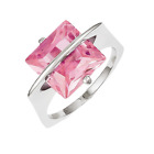 925 Sterling Silver Pink Synthetic Cubic Zirconia 2-Prong Square Ring