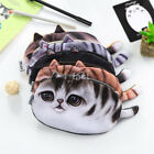 Practical Simulated Cat Flannel Pencil Bag Student Cute Cat Stationery Bag US
