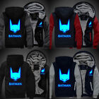 BATMAN Men Cosplay Luminous Winter Zipper Jacket Sweatshirts Thicken Hoodie Coat