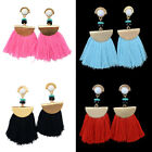 1 Pair Women Earrings Gold Plated Charm Bead Tassel Pendant Drop