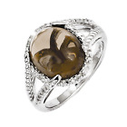 925 Sterling Silver Smoky Quartz and Diamond Oval Cabochon Cut Ring - 0.12cttw