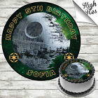STAR WARS DEATH STAR EDIBLE ROUND BIRTHDAY CAKE TOPPER DECORATION PERSONALISED