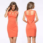 Women's Orange Bodycon Slim Evening Party Sexy Cocktail Pencil Office Dress